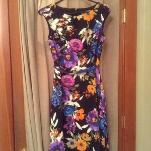 dress floral fit and flare retro keyhole 2 petite